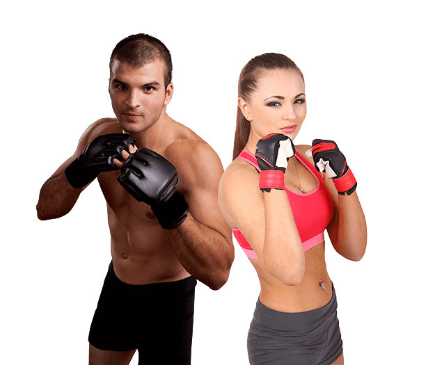 Mixed Martial Arts Lessons for Adults in __CITY__ __STATE__ - Hands up Fitness MMA Man and Woman Footer Banner