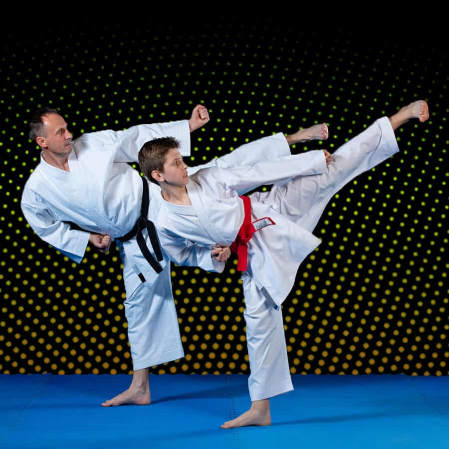 Martial Arts Lessons for Families in __CITY__ __STATE__ - Dad and Son High Kick