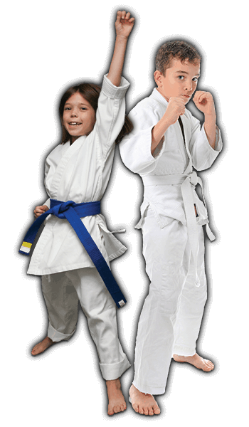 Martial Arts Lessons for Kids in __CITY__ __STATE__ - Happy Blue Belt Girl and Focused Boy Banner